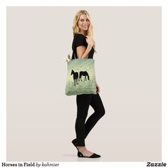 Horses in Field Tote
