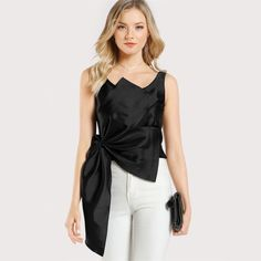 Cheap satin crop top, Buy Quality black crop top women directly from China black crop top Suppliers: SHEIN Elegant Women Tops Black Crop Tops Women Scoop Neck Sleeveless Zipper Back Women Casual Tops Front Bow Satin Crop Top Cropped Tops, Black Crop Tops, Satin Crop Top, Crop Tops Online, Casual Tops For Women, Elegant Woman, Camisole Top, Clothes For Women, Bow