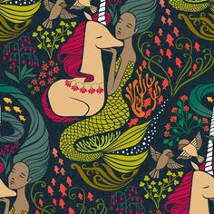 The Mermaid and the Unicorn - Mamara fabric by ceciliamok on Spoonflower - custom fabric