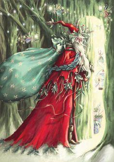 Poinsettia Fairy & Forest Santa Christmas Cards Box of 10