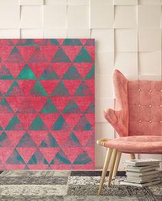 Modern Teal & Pink Triangles Canvas Art @ http://artzeedesigns.com/products/modern-teal-pink-triangles-canvas-art.html