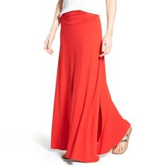 Rank & Style - Bobeau Ruched Waist Side Slit Maxi Skirt #rankandstyle