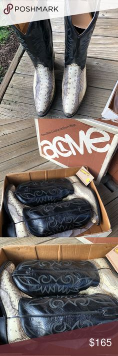 Acme Men's cowboy boots Acme brand cowboy boots size is 11! These are vintage and are in amazing shape the skin on these are eel and are rare have original box with these as shown in pictures acme Shoes Cowboy & Western Boots