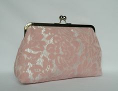 Pink Lace Clutch Bridal Clutch Wedding Clutch by TheHeartLabel Pink Clutch, Pink Satin, Pink Lace, Blush Pink, Bridesmaid Clutches, Bridesmaid Gifts, Bridesmaids, Wedding Clutch, Lace