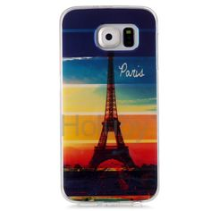 Blue-ray IMD Craft Flexible TPU Back Cover Case for Samsung Galaxy S6 G9200 - Eiffel Tower