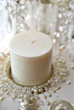 Winter Decor: White candles, beaded, crystal candleholders