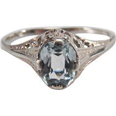 Lovely Art Deco 14K White Gold Filigree Light Blue Aquamarine Colored Glass Stone Ring