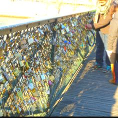 Lock wall in France---- we didn't take a lock BUT we put our names on the wood ledge!! Darn cool to see..next time we will have a lock ;)
