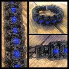 MONSTER cobra - Thin Blue Line Style knottydans.com #paracord #whatsonyourwrist we accept visa/master card just click on pay with PayPal and choose pay with credit card no pay pal required  #tactical #edc #manshit #watchband #watch #dtom #molonlabe