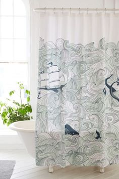 Elisa Cachero Odyssey Shower Curtain - Urban Outfitters - for the boys bathroom Cool Shower Curtains, Bathroom Curtains, Deco Marine, Mermaid Bathroom, Pirate Bathroom, Bathroom Wall Decor, Bathroom Ideas, Small Bathroom, Kid Bathrooms