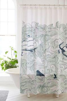 Elisa Cachero Odyssey Shower Curtain - Ship, whale, octopus, mermaid