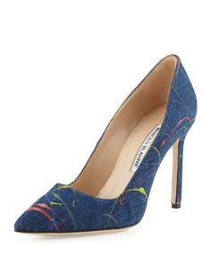 BB+Paint-Splatter+105mm+Pump,+Denim+Blue+by+Manolo+Blahnik+at+Bergdorf+Goodman.
