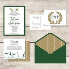 5x7 Layered Green and Gold Wheat Monogram Wedding Invitation with RSVP & Insert Custom Envelope Liner in Silver