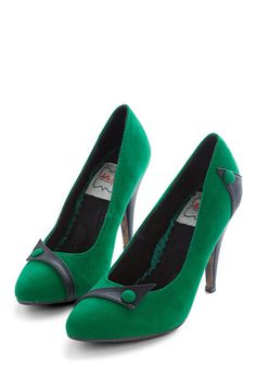 Sizzling Steps Heel in Green by Bettie Page - High, Velvet, Green, Black, Solid, Buttons, Party, Holiday Party, Vintage Inspired, 80s, Better, Variation