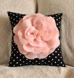 Pink Rose On Black and White Polka Dot Pillow 14 X 14 by bedbuggs, $31.00
