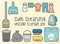 Premium Vector Clipart - Kawaii Cleaning Clipart - Kawaii Clip Art Set - High…