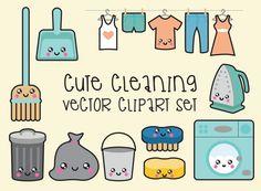 Premium Vector Clipart - Kawaii Cleaning Clipart - Kawaii Clip Art Set - High Quality Vectors - Instant Download - Kawaii Clipart