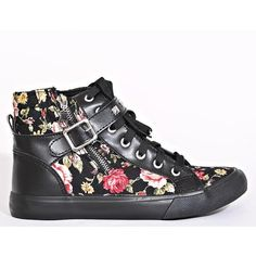 Urban Floral Canvas High Tops ($23) ❤ liked on Polyvore featuring shoes, sneakers, black combo, black canvas high tops, floral print sneakers, floral canvas sneakers, canvas lace up sneakers and black canvas shoes