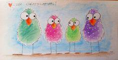 Gratulationskarte mit Supracolor gemalt