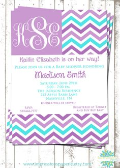 Lilac Blues - A Customizable Baby Shower Invitation by Best Impressions Paperie   Lavender and Aqua   Lavender and Turquoise   Chevron Invitation   Girl Baby Shower