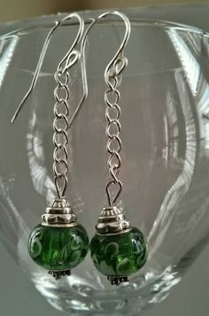 Green Beaded Earrings, Green and Silver Dangles, Handmade Earrings, handmade earrings