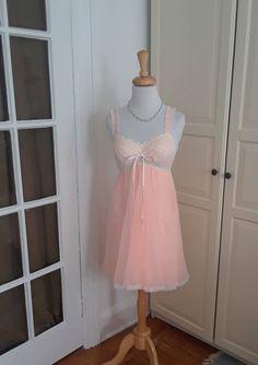 50s Pink Chiffon Lace Babydoll Nightgown Short Nightdress