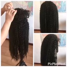Brazilian kinky Curly human hair Wigs for black women Natural Hairline Curly Hair Styles, Natural Hair Styles, Layered Curly Hair, 100 Human Hair Wigs, Wigs For Black Women, Lace Front Wigs, Kinky, Braided Hairstyles, African