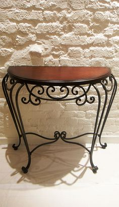 Perfect Half Moon Console Table With Wrought Iron U0026 Pine Wood