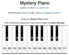 Play a note sequence to get the hidden message. Find by Aubrey Yeh. Breakout Game, Breakout Edu, Breakout Boxes, Geocaching, Escape Box, Escape The Classroom, Teach Like A Pirate, Escape Room Puzzles, Teaching Secondary
