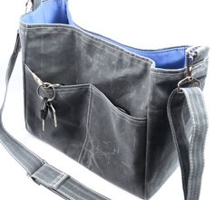 Charcoal Grey Bucket Bag Waxed Canvas Vegan Leather City Tote Messenger Bag Tote Handbag Purse Gift - Margeaux  by WhiteCross Designs
