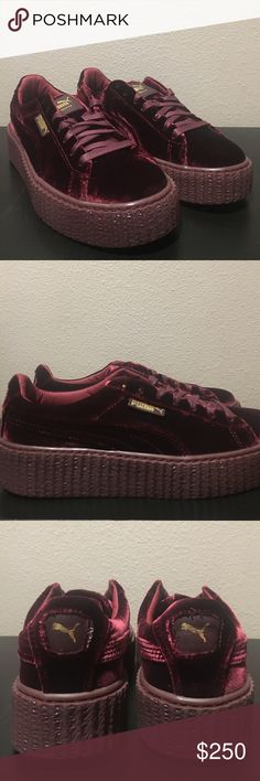 Puma Rihanna Fenty Creeper Velvet Suede Sz 8 100% authentic brand new in a box never worn velvet suede Rihanna creepers! The color way is called Royal Purple but looks maroon. Women's size 8. Comes with a box and a Fenty bag. Please let me know if you want to see more pictures. Puma Shoes Sneakers