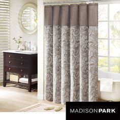 @Overstock - Madison Park Whitman Jacquard Faux Silk Shower Curtain - Add some classic style to your bathroom with this faux silk shower curtain from Whitman. Featuring a beautiful woven taupe jacquard in paisley print, this shower curtain will set the tone for the design and style of your guest bathroom.  http://www.overstock.com/Bedding-Bath/Madison-Park-Whitman-Jacquard-Faux-Silk-Shower-Curtain/6816642/product.html?CID=214117 $32.84