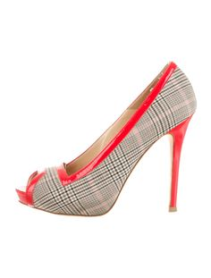 Grey plaid and red Alexander McQueen peep-toe pumps with patent leather covered heel.