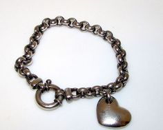 Milor Italy Sterling Silver Bracelet with a Heart Charm. Rare