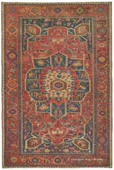 Serapi, 11ft 6in x 17ft 3in, Circa 1875.  This truly one-in-the-world antique Persian Serapi carpet retains the playful yet majestic aesthetic that is virtually never encountered in 19th century Oriental rugs of such large size. This singular oversize 19th century rug would imbue an artful ambiance to a large room, highlighted by its asymmetrical, compartmented medallion and astonishing saturated hues, including a dazzling abundance of rare green.