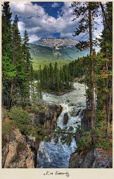 Sunwapta Falls is located close to the famous Icefields Parkway in the Canadian Rocky Mountains.