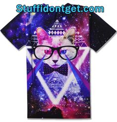 This!  I am still undecided, but I think we should all have these t shirts in our wardrobe, I am looking for the full collection, meanwhile I will leave you with this one, there is so much going on my head hurts!  Aztec Pyramids, A cat wearing glasses with something... Lasers? 3D posts? Radiating from his/her eyes, the body-less cat floats over the illuminate triangle below, all of this appears to be floating randomly through space...  Oh and of course this magnificent pussy is wearing a…