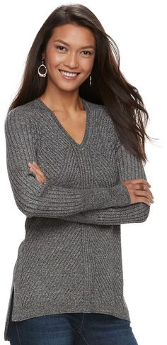 d580084a10 Apt. 9 Women's Mixed Ribbed V-Neck Sweater Gender Female, Women's Sweaters,