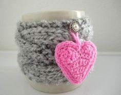 Pink Heart Gray Cable Cup Cozy, Tea Mug Sleeve. via Etsy. Crochet Mug Cozy, Crochet Dishcloths, Crochet Home, Crochet Crafts, Crochet Yarn, Yarn Crafts, Crochet Projects, Diy Gifts, Craft Gifts