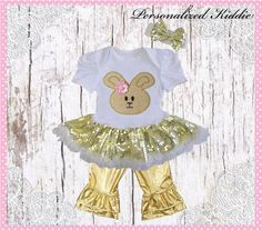 3pc Easter outfit bunny sequin tutu dress by Personalizedkiddie
