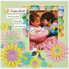 Sample Easter, First Communion and St. Patrick's cards and scrapbook pages using brads and eyelets to inspire you. Photo Layouts, Scrapbook Page Layouts, Scrapbook Paper, Scrapbooking Ideas, Smash Book Pages, Baby Girl Scrapbook, Kids Pages, Easter Crafts, Easter Ideas