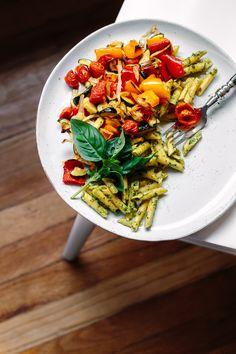 Hemp Seed + Flax Oil Basil Pesto w/ Penne & Roasted Vegetables | Faring Well | #vegan #recipe