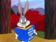"""Bugs Bunny reads """"1000 Ways to Cook a Duck"""" 