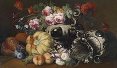 Abraham Brueghel — A Still Life of Fruit and Flowers with Two Vases Dutch Golden Age, Still Life, Fruit, 17th Century, Vases, Paintings, Wine Cellars, Illustrations, Artists