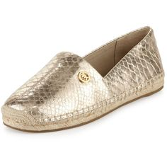 MICHAEL Michael Kors Kendrick Snake-Embossed Espadrille Flat (5,085 PHP) ❤ liked on Polyvore featuring shoes, flats, flat shoes, nude flats, leather cap, flat espadrilles and michael michael kors shoes