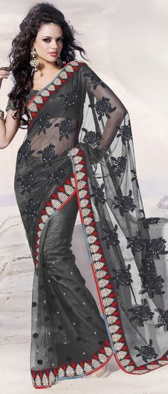 #Black Net #Saree With Blouse @ $ 90.97