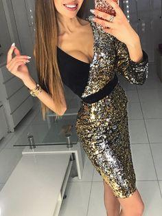 Sequins Deep V Splicing One Shoulder Bodycon Dress