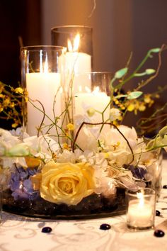 Candles in wedding decor Candle Centerpieces, Candle Lanterns, Wedding Centerpieces, Wedding Table, Wedding Decorations, Table Decorations, Sunflower Centerpieces, Centerpiece Flowers, Centrepieces
