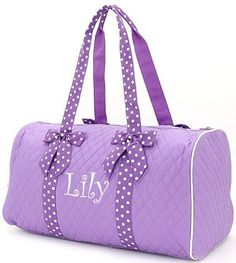 """Personalized 21"""" Dance Bag/Ballet Bag/Lavender and White"""