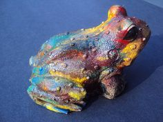 Statuary Home Garden Stone Hippy Frog by MountainArtCasting,